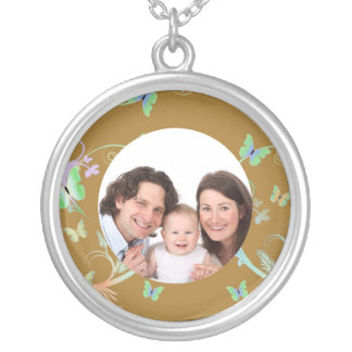 Butterfly/ Photo Round Pendant Necklace