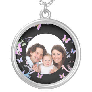 Butterfly/ Photo Silver Plated Necklace