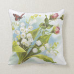 Butterfly pillow with roses and lily of the valley