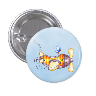 Butterfly Pilot Pixel Art Airplane 1 Inch Round Button