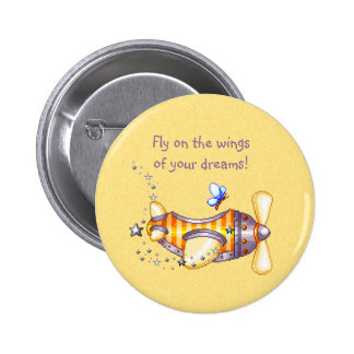 Butterfly Pilot Pixel Art Airplane 2 Inch Round Button