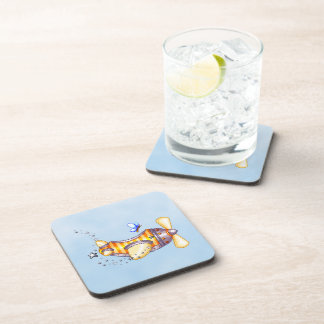 Butterfly Pilot Pixel Art Airplane Drink Coaster