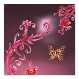 BUTTERFLY PINK AMETHYST bright red Invitations
