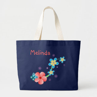 Butterfly Pink Blue Floral Large Tote Bag