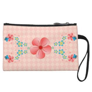 Butterfly Pink Blue Flowers Key Mini Clutch Purses