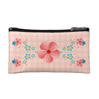 Butterfly Pink  Blue Flowers Small Cosmetic Bags