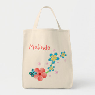 Butterfly Pink Blue Organic Grocery Tote Bag Tote Bag