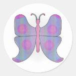 Butterfly Pink/Blue Round Sticker