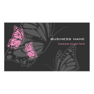 Butterfly Pink & Dark Elegant Modern Double-Sided Standard Business Cards (Pack Of 100)