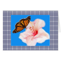 butterfly, pink flower and plaids 2 cards
