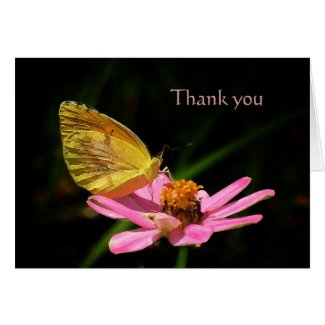 Butterfly & Pink Flower Thank You Card card