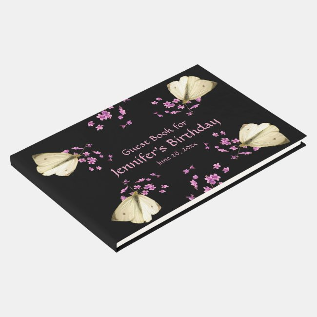 Butterfly Pink Flowers Birthday Party Guest Book