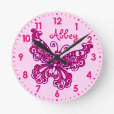 Butterfly Pink Girls Room Name Wall Clock at Zazzle