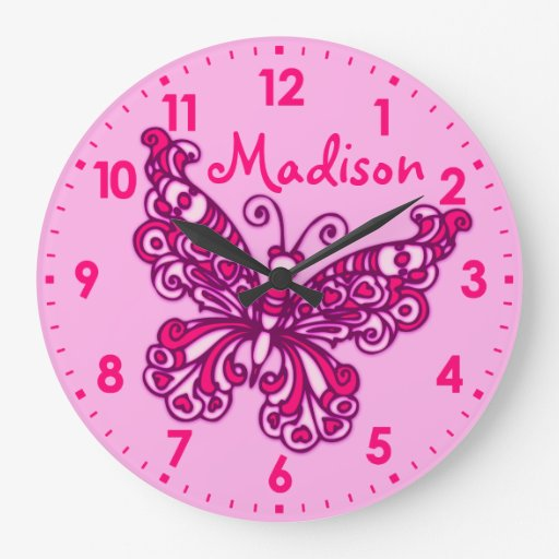 Butterfly pink girls room name wall clock