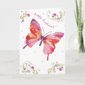 Butterfly Pink Happy Birthday Card