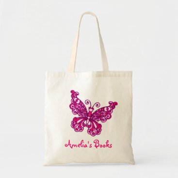 Beach Themed Butterfly pink kids named id library tote bag