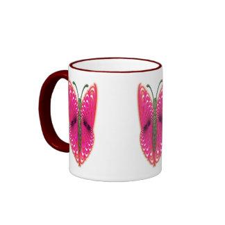 Butterfly pink ringer mug