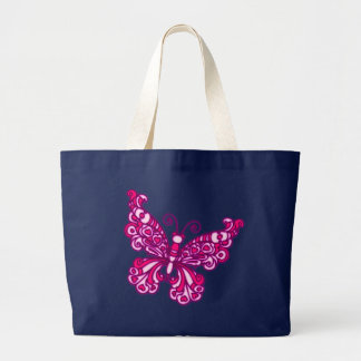 Butterfly pink & navy blue tote bag