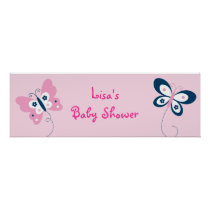 Butterfly Pink Navy Personalized Banner Sign Poster