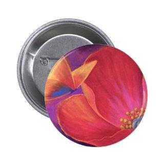 Butterfly Pink Poppy Art - Multi 2 Inch Round Button