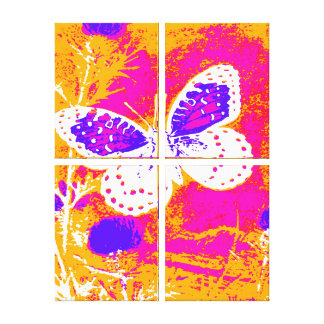 Butterfly - PINK, PURPLE, ORANGE, WHITE Canvas Prints