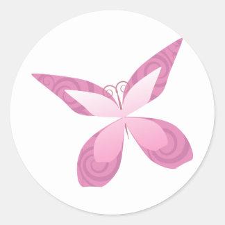 Butterfly Pink Ribbon Round Sticker