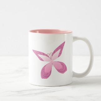 Butterfly Pink Ribbon Two-Tone Coffee Mug