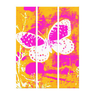 Butterfly - Pink, White with Orange Gallery Wrapped Canvas