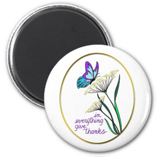 Butterfly & Plant Give Thanks 2 Inch Round Magnet