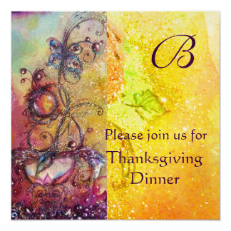 "BUTTERFLY PLANT MONOGRAM Thanksgiving Dinner Gold 5.25"" Square Invitation Card"