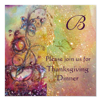 BUTTERFLY PLANT MONOGRAM Thanksgiving Dinner Ice Invitation