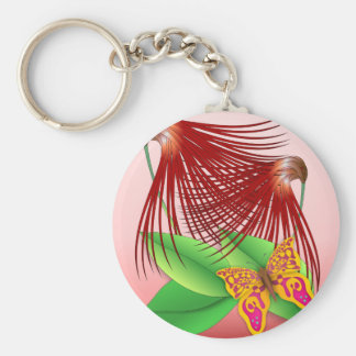 Butterfly & Plants Basic Round Button Keychain
