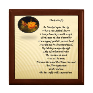 Butterfly poem and picture on gift box lid