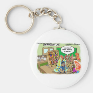 Butterfly Police Offbeat Cartoon Funny Gifts & Tee Keychain