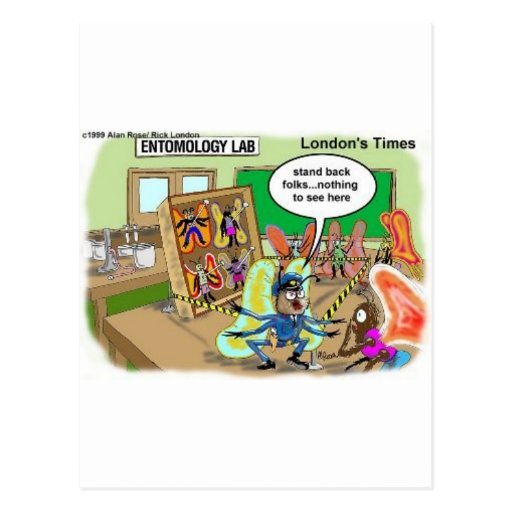 Butterfly Police Offbeat Cartoon Funny Gifts & Tee Postcards