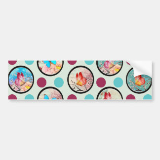 Butterfly Polka Dots Print Bumper Sticker