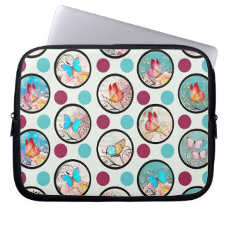 Butterfly Polka Dots Print Laptop Computer Sleeves