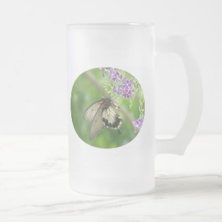 Butterfly Pollinating Frosted Beer Mug
