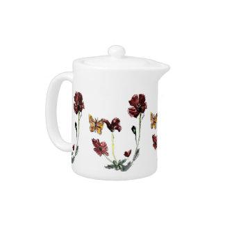 Butterfly Poppy Flowers Floral Art Teapot