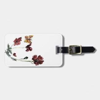 Butterfly Poppy Flowers Illustration Bag Tag