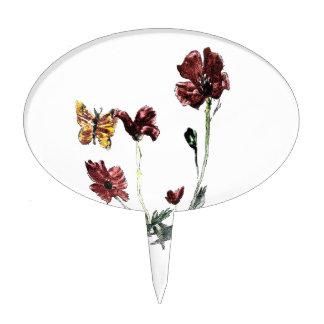 Butterfly Poppy Flowers Illustration Cake Topper