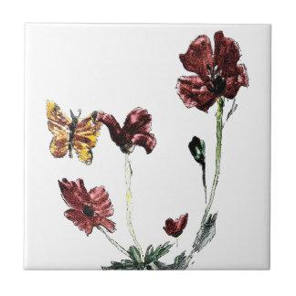 Butterfly Poppy Flowers Illustration Ceramic Tile
