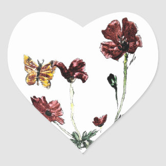 Butterfly Poppy Flowers Illustration Heart Sticker