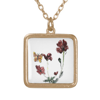 Butterfly Poppy Flowers Illustration poppies Gold Plated Necklace