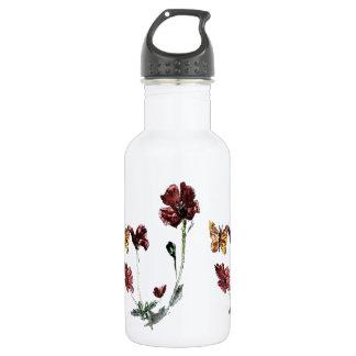 Butterfly Poppy Flowers Illustration Stainless Steel Water Bottle
