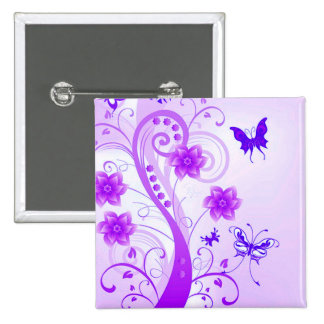 Butterfly Posies Pinback Button