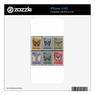 Butterfly Postage Stamps Skins For iPhone 4S