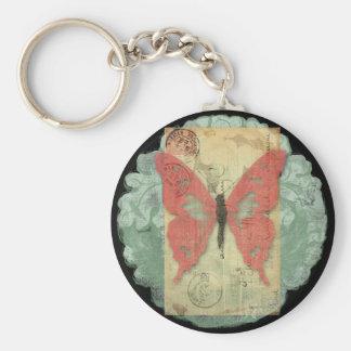 Butterfly Postale Basic Round Button Keychain