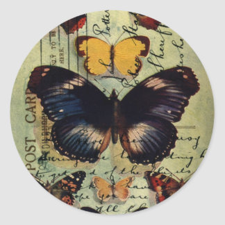 Butterfly Postcard Classic Round Sticker
