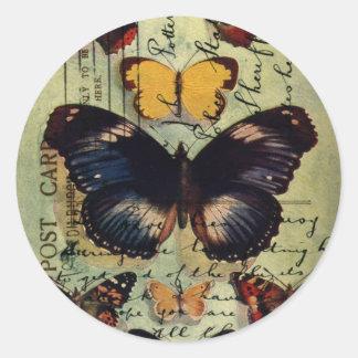 Butterfly Postcard Round Sticker